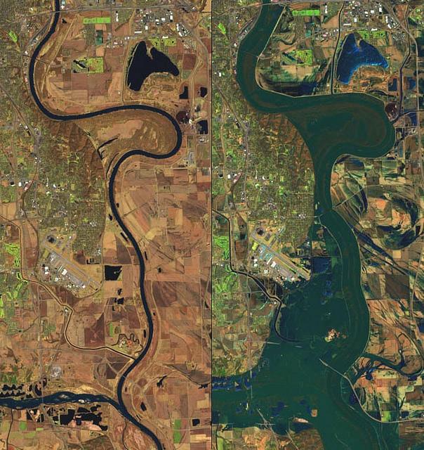 Desbordamiento de un río hacia sus llanuras de inundación