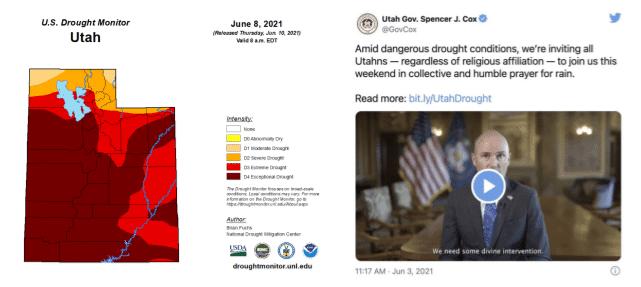 Indicador de sequía en Utah, Estados Unidos